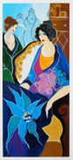 Hand Signed Flower Lady by Itzchak Tarkay Framed Retail $1.95K