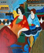 Hand Signed Cafe De Luc by Itzchak Tarkay Retail $1.625K