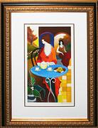 Hand Signed Charlena At Tea by Itzchak Tarkay Framed Retail $1.275K