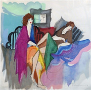 Hand Signed Mid-Day Rest by Itzchak Tarkay Framed Retail $690