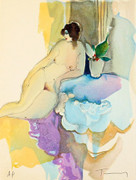 Hand Signed Nude With Flowers by Itzchak Tarkay Retail $455
