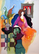 Hand Signed Lady On A Chair by Itzchak Tarkay Retail $820