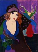 Hand Signed Demoiselle Et Fleurs by Itzchak Tarkay Framed Retail $850