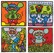 Hand Signed  Keith Haring Andy Mouse1986 By Andy Warhol