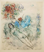 Signed Nu, Coq Bleu (Nude, Blue Rooster) By Marc Chagall Retail $190K