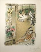 Hand Signed L'oiseau Dans L'atelier By Marc Chagall Retail $65K
