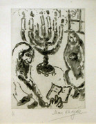 Hand Signed Untitled (Menorah) By Marc Chagall Framed Retail $20K