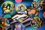 Hand Signed Neighborhood Watch By Mark Kostabi Retail $10.4K