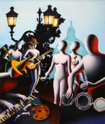 Hand Signed Modulating The Infinite By Mark Kostabi Retail $10.4K
