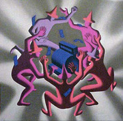 Signed Cash Dance (Grey) By Mark Kostabi Retail $1.95K