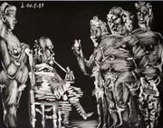 Hand Signed Trois Vieux Copains En Visite: Monsieur Fume, Madame Surveille (Bloch 1820) By Pablo Picasso Retail $19.5K
