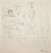 Hand Signed Eau Forte, 347 Series - Scene Aux Quatre Personnages by Pablo Picasso
