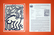 Signed Fight Aids Worldwide By Keith Haring Framed Retail $6K