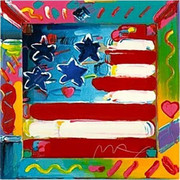 Fab Flag Peter Max Hand Signed Ltd Ed Silkscreen with COA