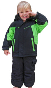 Insulated jacket and bib style snow set.