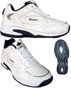 Men's White Leather Tennis Shoes
