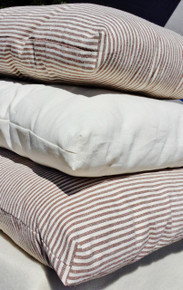 choose your size and fabric, the striped ticking or off-white muslin; they are both 45% Hemp, 55% Organic Cotton.