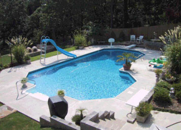 Grecian true l in ground swimming pool for Grecian pool dimensions