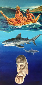 """Masters of the sea. Masters for the ages. These are the Kings of Rapa Nui.   Acrylic on Canvas.  10""""w x 20""""h"""