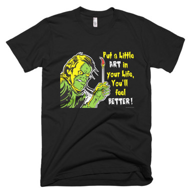 Put A Little Art In Your Life, You'll Feel Better. This is our motto and our approach to a happy life! My retro zombie graphic shows you that even the undead can be happier with an artful life.  This American Apparel t-shirt is the smoothest and softest t-shirt you'll ever wear. Made of fine jersey, it has a durable, vintage feel. These classic-cut shirts are known for their premium quality, as well as ability to stand up to a washing machine (will maintain size and color after many washes).  • Fine jersey  • Slim fit  • Double stitched  • made in the USA, sweatshop free