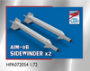 High Planes AIM-9B Sidewinder Air to Air Missile and AERO-3B rail x 2 Accessories 1:72 (HPA072054)