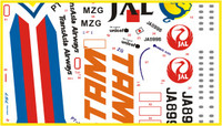 FCM Airlines Set 16: A320 TAM, A321 TransAsia Airways, Boeing 737-400 JAL, 757-200 Royal Nepal Airlines Decals 1:144