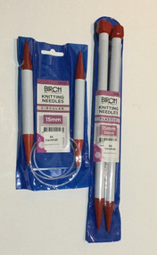 Birch 15mm Knitting Needles - Straight