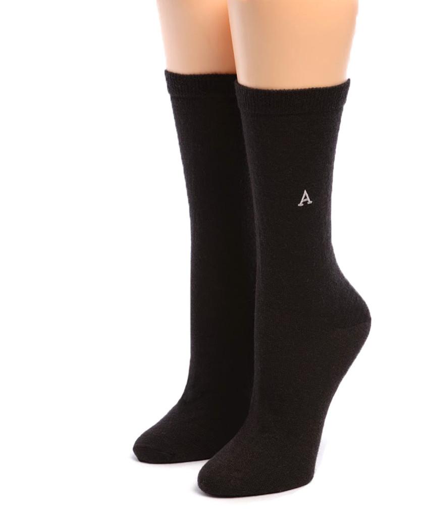 Women's Trouser Alpaca Socks Black Front