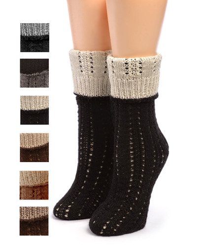 Reversible Hand Knit Alpaca Socks Folded showing color options