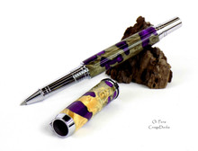Oi Pens Buckeye Burl Wood Stabilized Rollerball Purple Pearl Chrome Jr Gent Hybrid