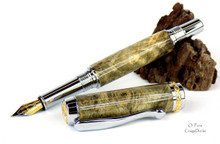 Oi Pens Buckeye Burl Wood Stabilized Fountain Chrome 22kt Triton Med Nib
