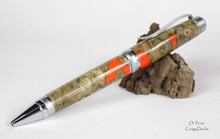 Oi Pens Buckeye Burl Wood Stabilized Ballpoint Orange Pearl Chrome Satin Cigar Twist