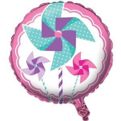 """18"""" Turning One Girl Pinwheel Foil Balloon"""
