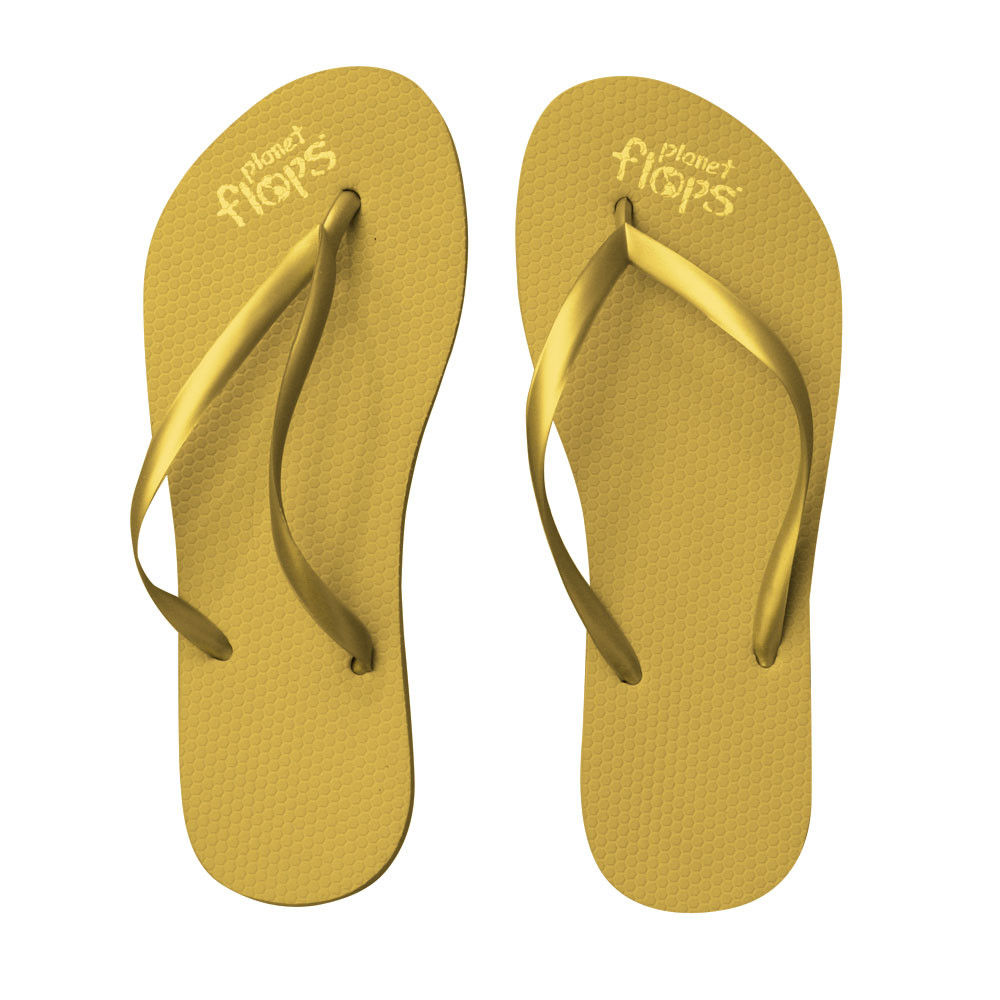 Metallic Gold Thin Strap Flip Flops Planet Flops