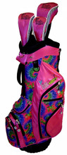 pink tie dye golf bag with head covers