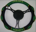 Jamaica Mesh Steering Wheel Cover : Black, Green & Gold