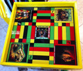 Ludo Board & Draughts Board - Black, Red, Green & Gold : King Lion Heart (Custom) Large