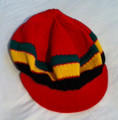 Knitted Rasta Cotton Short Peak Cap (Red)
