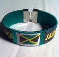 Black Green And Gold : Jamaica Flag Bracelet/Bangle/Wristband (Green)