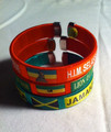 Black Red Green And Gold : 3 Assorted Bracelet/Bangle/Wristband ( Small )