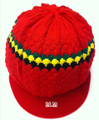 Knitted Tam With Rasta Stripes - Red