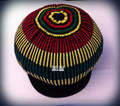 Knitted Rasta Large Peak Cap (Black With Red, Green & Gold Stripes)