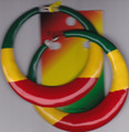 Red, Green & gold...Large Rasta Hoops Metal Earring
