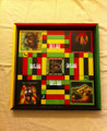Ludo Board & Draughts Board - Black, Red, Green & Gold : King Lion Heart (Custom - Large)