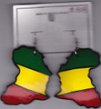 Red, Green &amp; Gold Africa Map Coconut Shell Earring