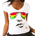 Rasta Glasses - Cooyah Women's T-Shirt (White)