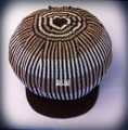 Knitted Rasta Large Peak Cap (Brown With Brown & Beige Stripes)
