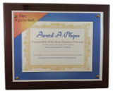 Natural Hardwood Award Plaque with Dark Stain and Glossy Finish