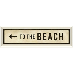 STREET SIGN WHITE - TO THE BEACH - LEFT ARROW