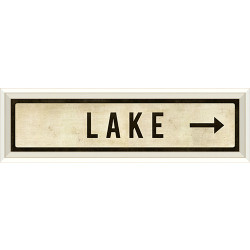 STREET SIGN WHITE - LAKE - RIGHT ARROW